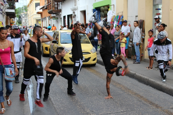 Street dancers holding up traffic in Cartagena