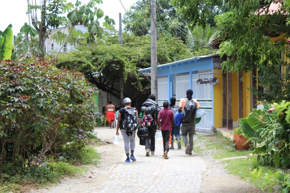 Migrants heading off into the Darien Gap jungle